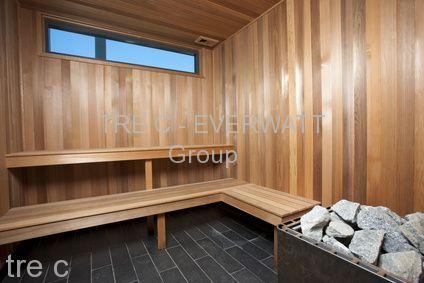 Interior of a wooden sauna